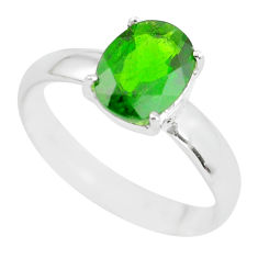 Faceted natural green chrome diopside 925 silver solitaire ring size 8 p63798