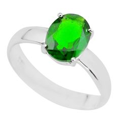 Faceted natural green chrome diopside 925 silver solitaire ring size 8 p63801