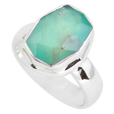 6.31cts faceted natural green gem silica 925 silver solitaire ring size 9 p54414
