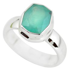 5.21cts faceted natural green gem silica silver solitaire ring size 10 p54412