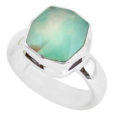 5.93cts faceted natural green gem silica silver solitaire ring size 10.5 p54415