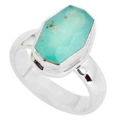 7.58cts faceted natural green gem silica silver solitaire ring size 10 p54417