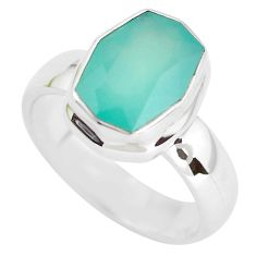 5.33cts faceted natural green gem silica silver solitaire ring size 10.5 p54419