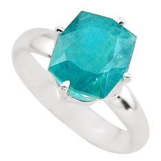 Faceted natural green grandidirite 925 silver solitaire ring size 9 p54251