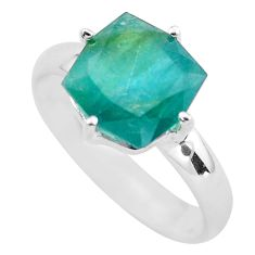 Faceted natural green grandidirite 925 silver solitaire ring size 9 p54260