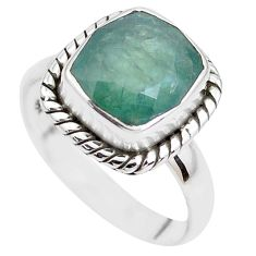 4.68cts faceted natural green grandidirite silver solitaire ring size 7 p41704