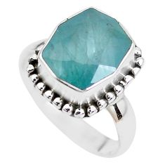 5.38cts faceted natural green grandidirite silver solitaire ring size 7 p41705