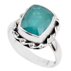 5.36cts faceted natural green grandidirite silver solitaire ring size 8 p41716