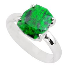 Faceted natural green maw sit sit 925 silver solitaire ring size 8 p54202