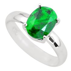 Faceted natural green maw sit sit 925 silver solitaire ring size 8.5 p54211
