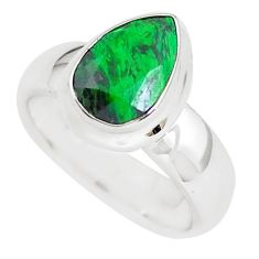 Faceted natural green maw sit sit 925 silver solitaire ring size 5.5 p54528