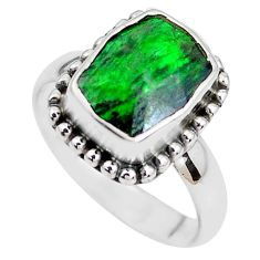 4.69cts faceted natural green maw sit sit silver solitaire ring size 7 p41730