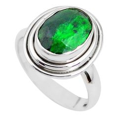 5.16cts faceted natural green maw sit sit silver solitaire ring size 7 p41736