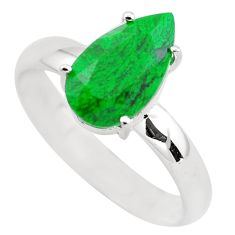 3.83cts faceted natural green maw sit sit silver solitaire ring size 9 p54201