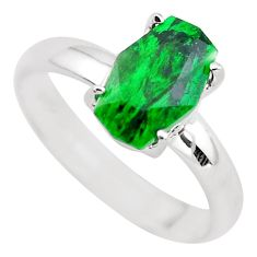 3.42cts faceted natural green maw sit sit silver solitaire ring size 8 p54214