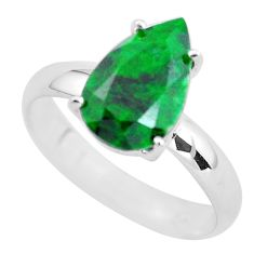 3.91cts faceted natural green maw sit sit silver solitaire ring size 8 p54217