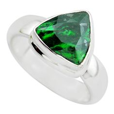 5.21cts faceted natural green maw sit sit silver solitaire ring size 10 p54461