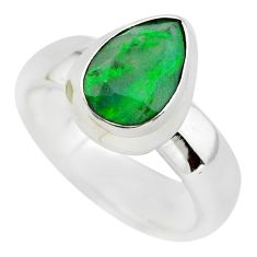 2.59cts faceted natural green maw sit sit silver solitaire ring size 6.5 p54463
