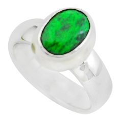 3.13cts faceted natural green maw sit sit silver solitaire ring size 5.5 p54464