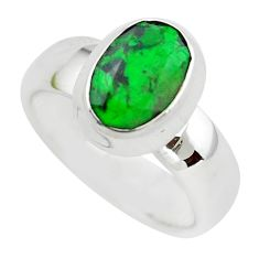 3.61cts faceted natural green maw sit sit silver solitaire ring size 5.5 p54466