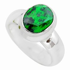 3.34cts faceted natural green maw sit sit silver solitaire ring size 5.5 p54467