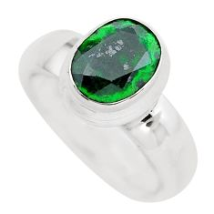 3.01cts faceted natural green maw sit sit silver solitaire ring size 5.5 p54469