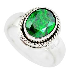 3.68cts faceted natural green maw sit sit silver solitaire ring size 5.5 p54475