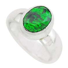 3.13cts faceted natural green maw sit sit silver solitaire ring size 5.5 p54476