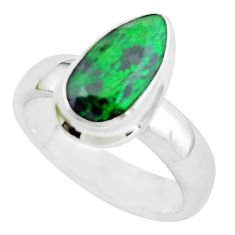 4.73cts faceted natural green maw sit sit silver solitaire ring size 9 p54478