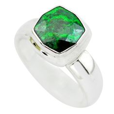 3.56cts faceted natural green maw sit sit silver solitaire ring size 5.5 p54480