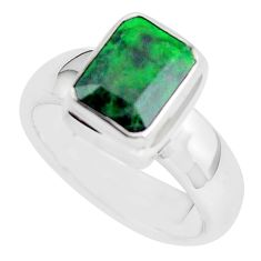 2.19cts faceted natural green maw sit sit silver solitaire ring size 5.5 p54530