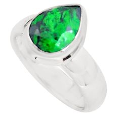 3.35cts faceted natural green maw sit sit silver solitaire ring size 6.5 p54533