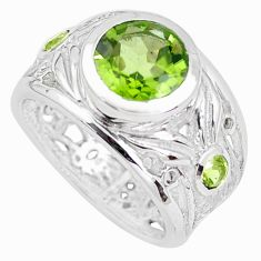 3.74cts faceted natural green peridot 925 silver solitaire ring size 5.5 p41804
