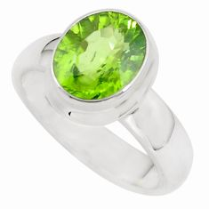 4.96cts faceted natural green peridot 925 silver solitaire ring size 10 p54540