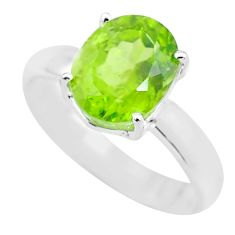 4.43cts faceted natural green peridot 925 silver solitaire ring size 8 p63822