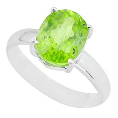 4.18cts faceted natural green peridot 925 silver solitaire ring size 7.5 p63847
