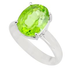 4.52cts faceted natural green peridot 925 silver solitaire ring size 7 p63854