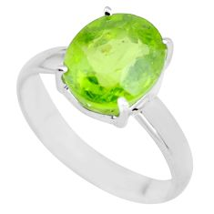 5.54cts faceted natural green peridot 925 silver solitaire ring size 8 p63857