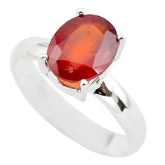 4.28cts faceted natural orange hessonite garnet 925 silver ring size 9 p54306
