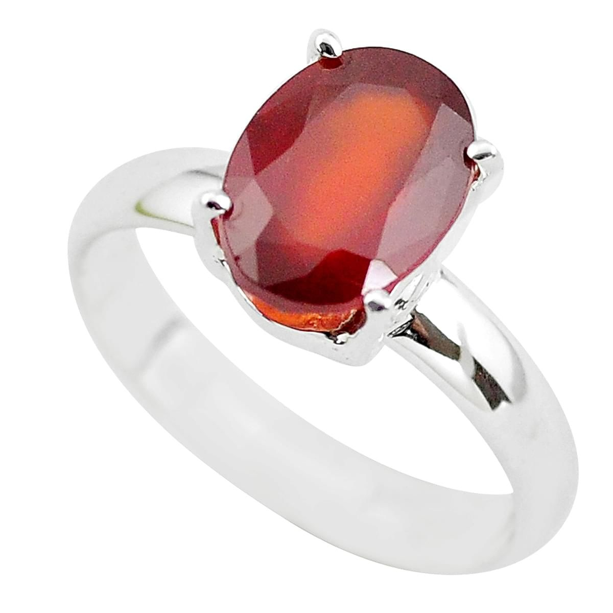 Details about  /Natural Hessonite Garnet Silver Ring 925 Sterling Silver Ring For Christmas Sale