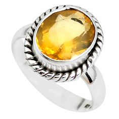 Faceted natural orange mexican fire opal 925 silver solitaire ring size 7 p41807
