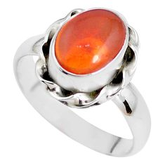 Faceted natural orange mexican fire opal silver solitaire ring size 7.5 p41681