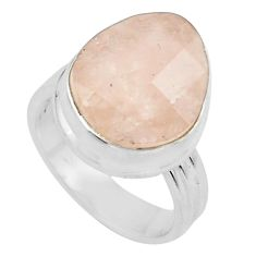 8.14cts faceted natural orange morganite silver solitaire ring size 6.5 p68423