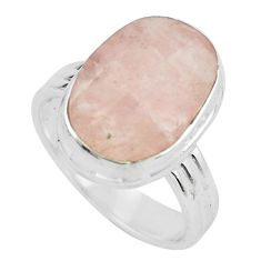 9.37cts faceted natural orange morganite silver solitaire ring size 7.5 p68444