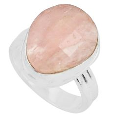 9.13cts faceted natural orange morganite silver solitaire ring size 7.5 p68448