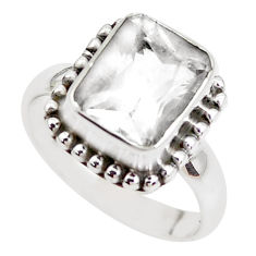 4.69cts faceted natural petalite 925 silver solitaire ring size 7 p41796
