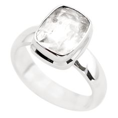5.09cts faceted natural pollucite 925 silver solitaire ring size 10.5 p54375