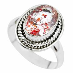Faceted natural red strawberry quartz 925 silver solitaire ring size 7 p41754