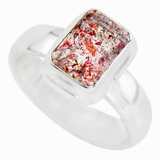 Faceted natural red strawberry quartz 925 silver solitaire ring size 9 p54325