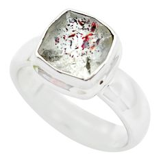 Faceted natural red strawberry quartz 925 silver solitaire ring size 9 p54326